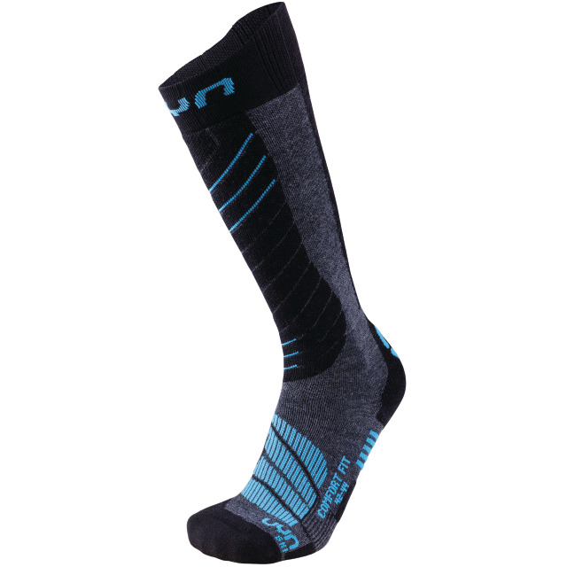 UYN Man Ski Comfort Fit Socks medium grey melange / azure