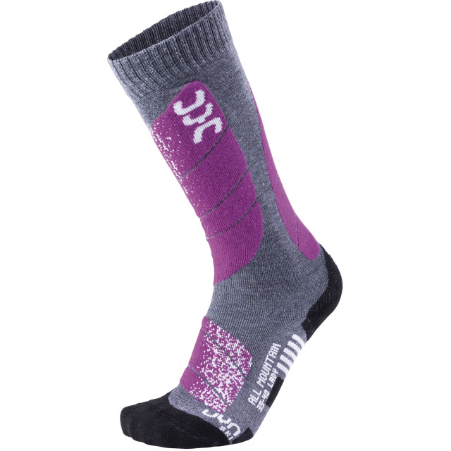 UYN Lady Ski All Mountain Socks medium grey melange / purple